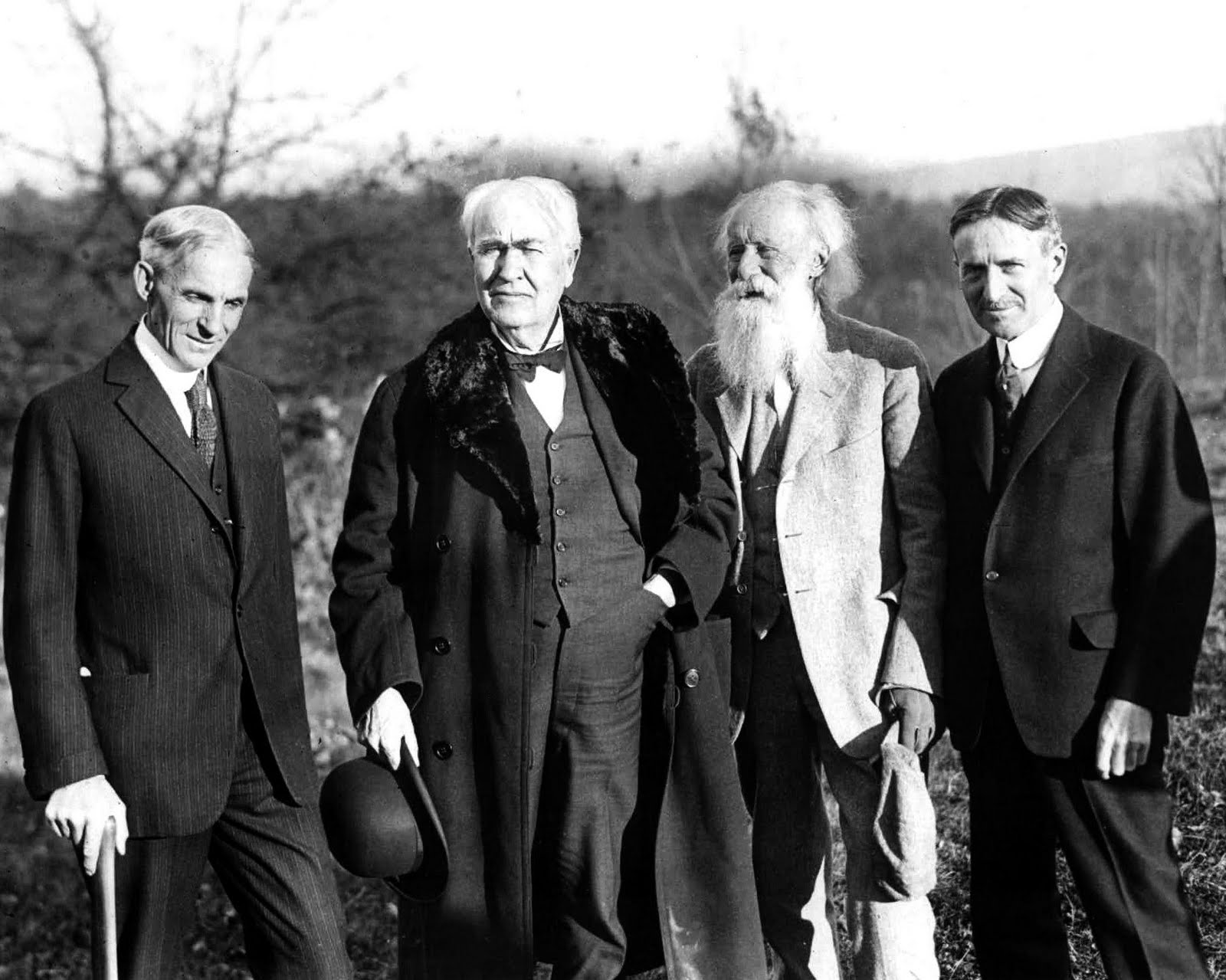 Henry Ford, Thomas Edison, John Burroughs and Harvey Firestone